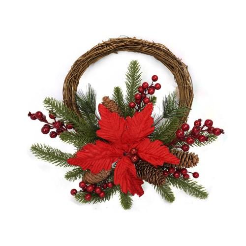 Corona di Natale decorata con Pigne e Bacche