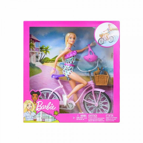 Barbie in Bicicletta con Casco ed Accessori - Mattel