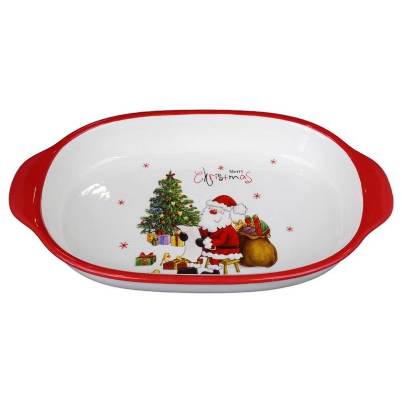 Piatto Decorativo Natalizio Con Babbo Natale - MazzeoGiocattoli.it