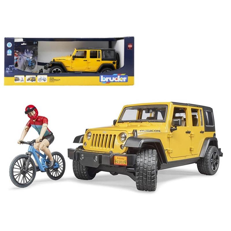 Jeep Wrangler Rubicon Con Bici E Ciclista - Bruder  - MazzeoGiocattoli.it