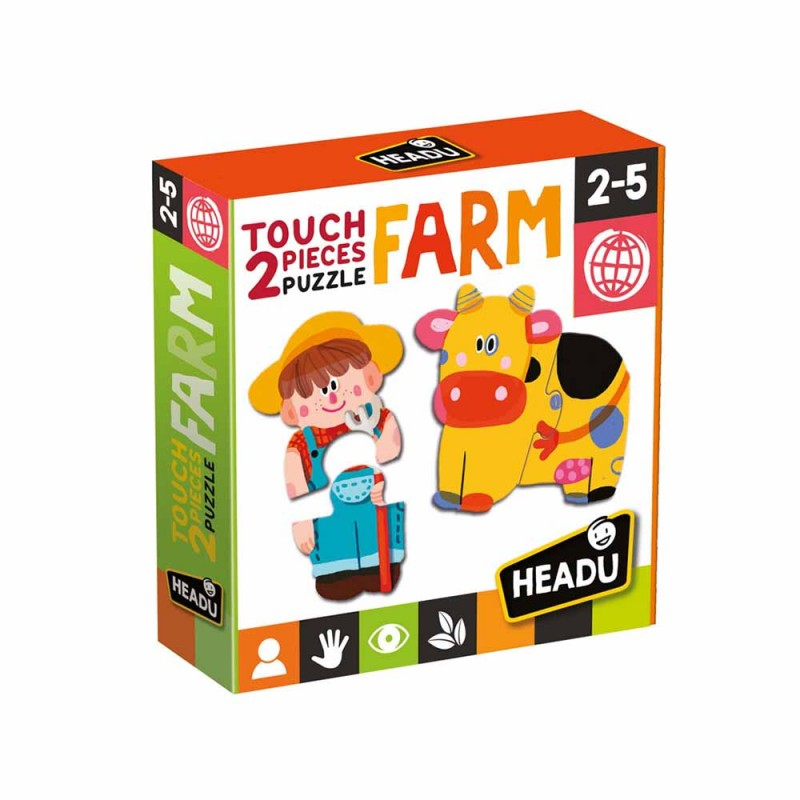 2 Pieces Puzzle Touch Farm - Headu  - MazzeoGiocattoli.it