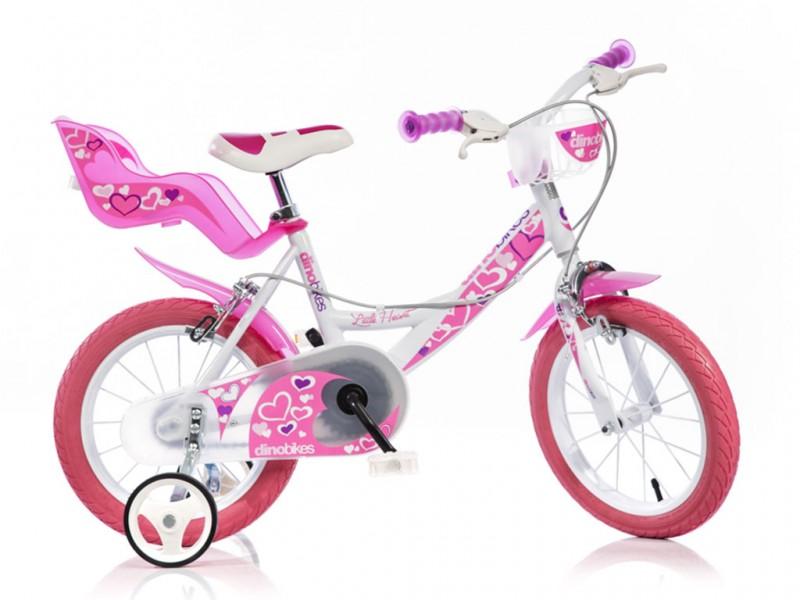 Bicicletta Bimba Ruota 14 Rosa E Bianca - Dino Bikes - MazzeoGiocattoli.it