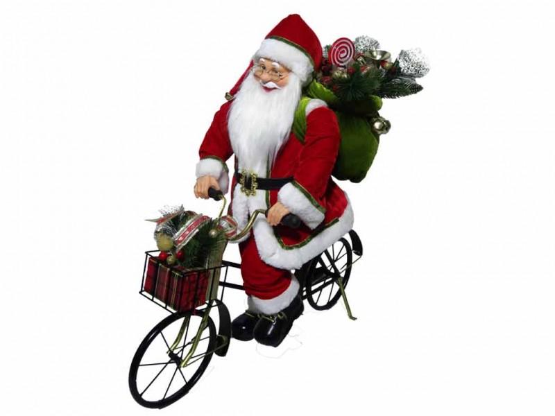 Pupazzo Babbo Natale In Bicicletta 60cm - Mazzeo Giocattoli - MazzeoGiocattoli.it