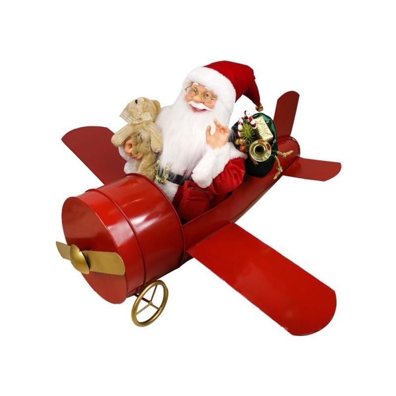 Babbo Natale Animato Con Aereo E Regali  - MazzeoGiocattoli.it
