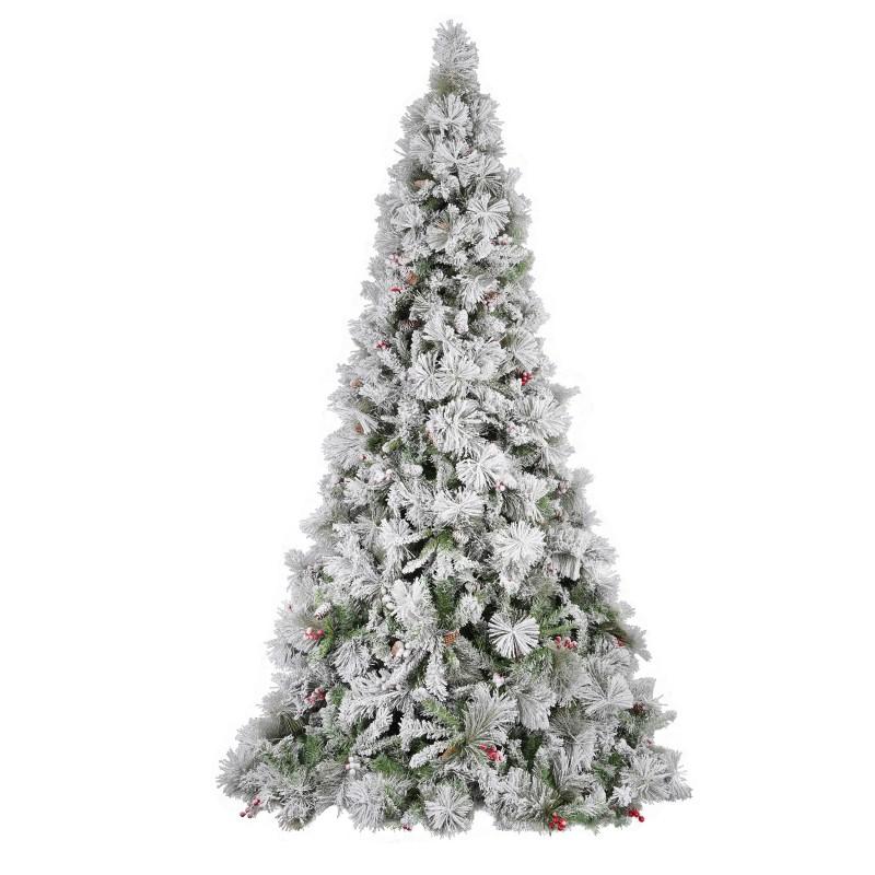 Albero Di Natale Modello Argentato Delle Murge Con Pigne E Bacche Cm 210  - MazzeoGiocattoli.it