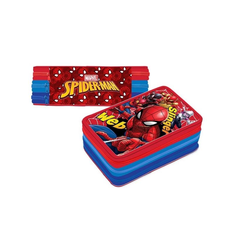 Astuccio 3 Zip Scuola Spider Man - MazzeoGiocattoli.it