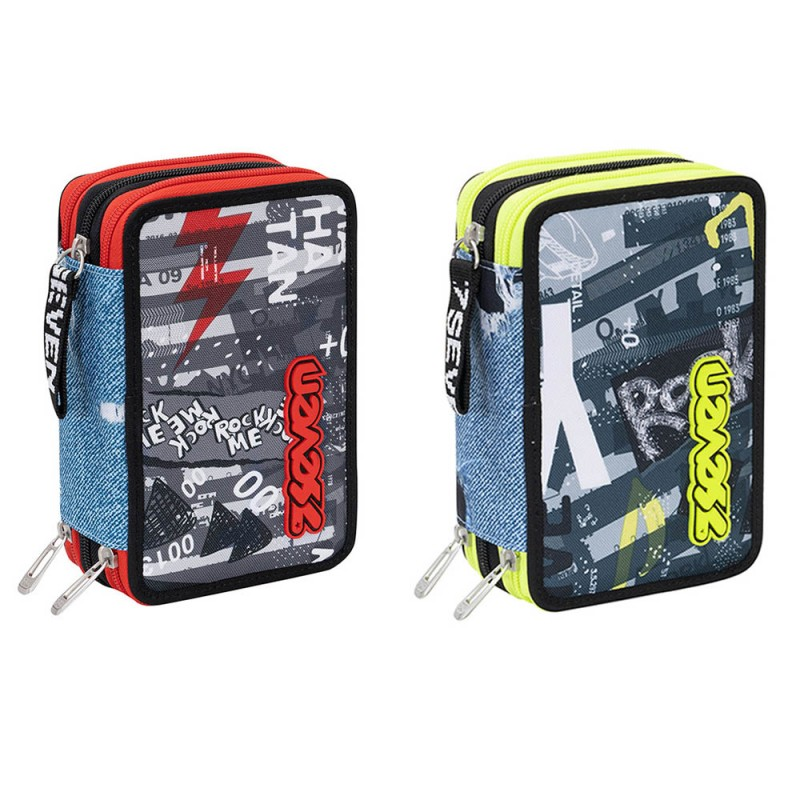 Astuccio 3 Zip Urban Rock - Seven - MazzeoGiocattoli.it