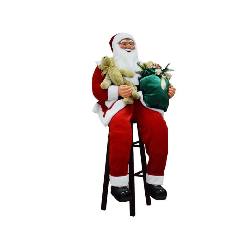 Babbo Natale Seduto Su Sgabello 150 Cm - MazzeoGiocattoli.it