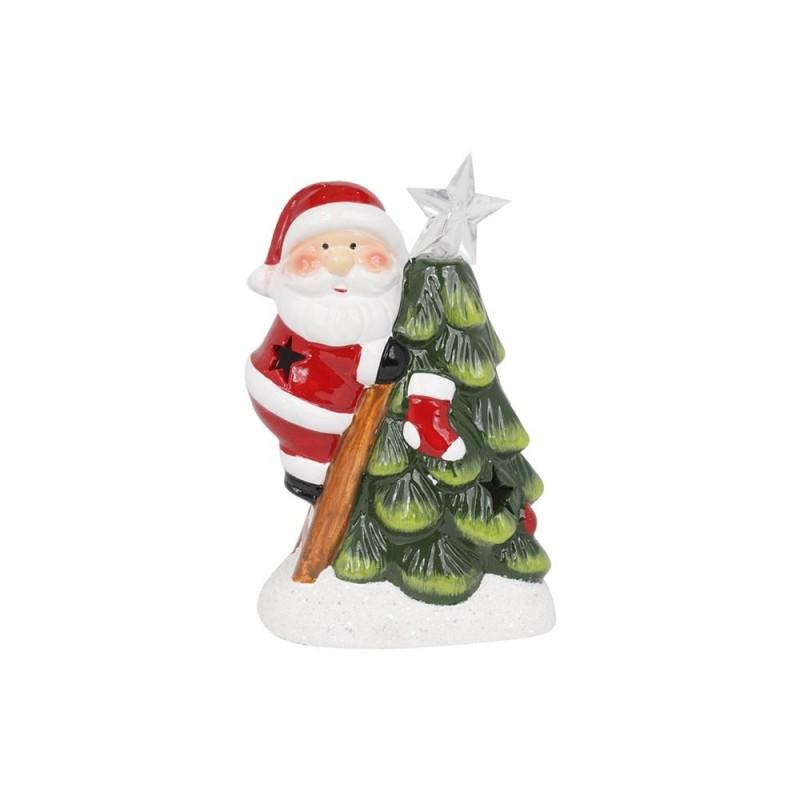 Babbo Natale Arrampicato Sull'albero Con Luci Led  - MazzeoGiocattoli.it