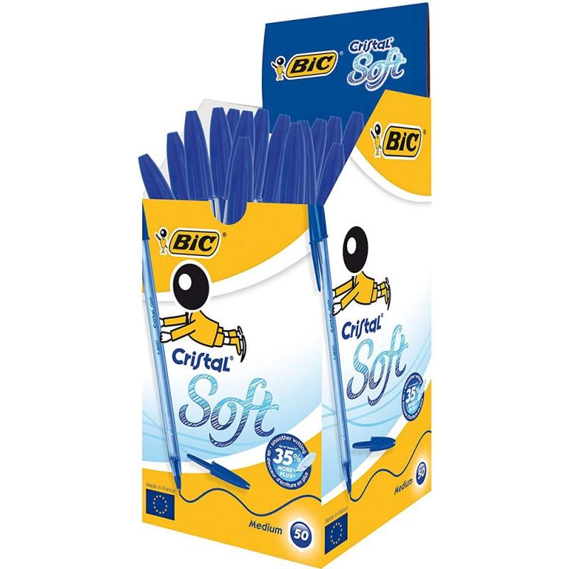 50 Pezzi Penna Bic Cristal Soft Blu - MazzeoGiocattoli.it