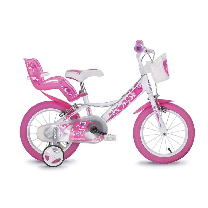 Bicicletta Bimba Ruota 16 Rosa E Bianca - Dino Bikes - MazzeoGiocattoli.it