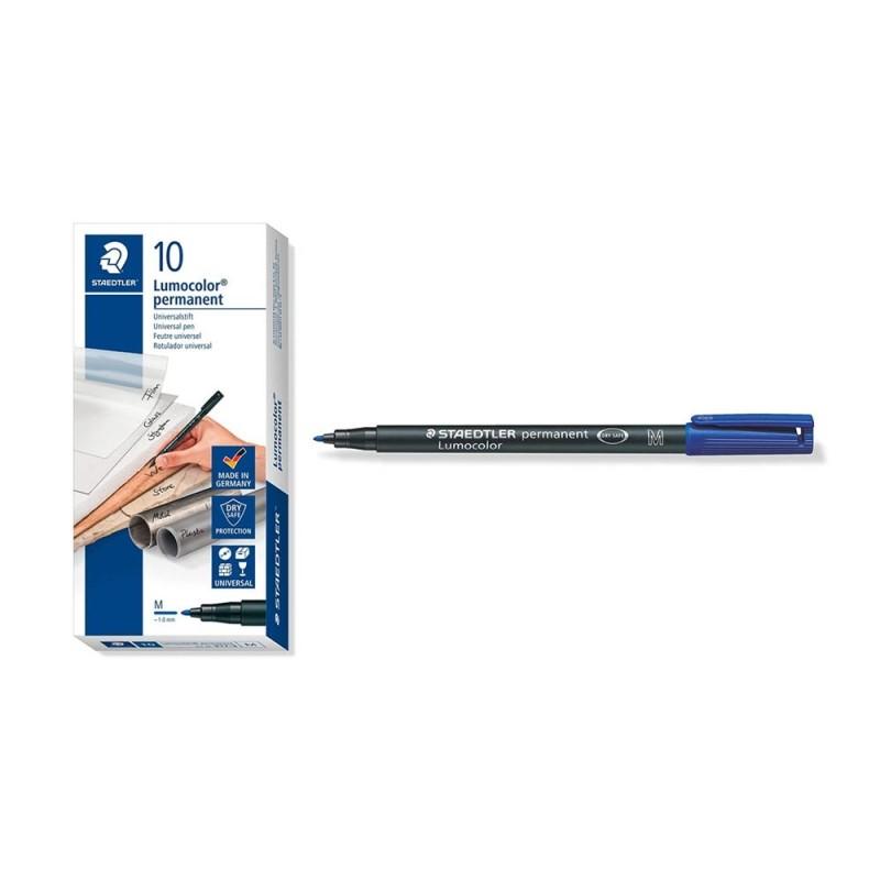Confezione 10 Penne Blu M Permanente - Staedtler  - MazzeoGiocattoli.it