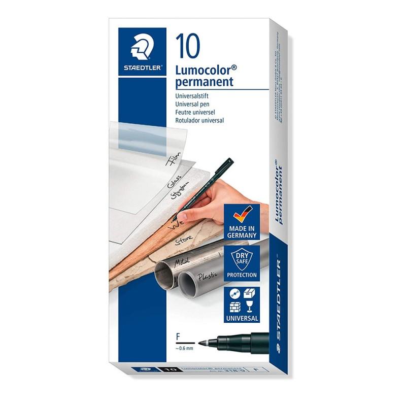 Confezione 10 Penne Nere F Permanente - Staedtler - MazzeoGiocattoli.it