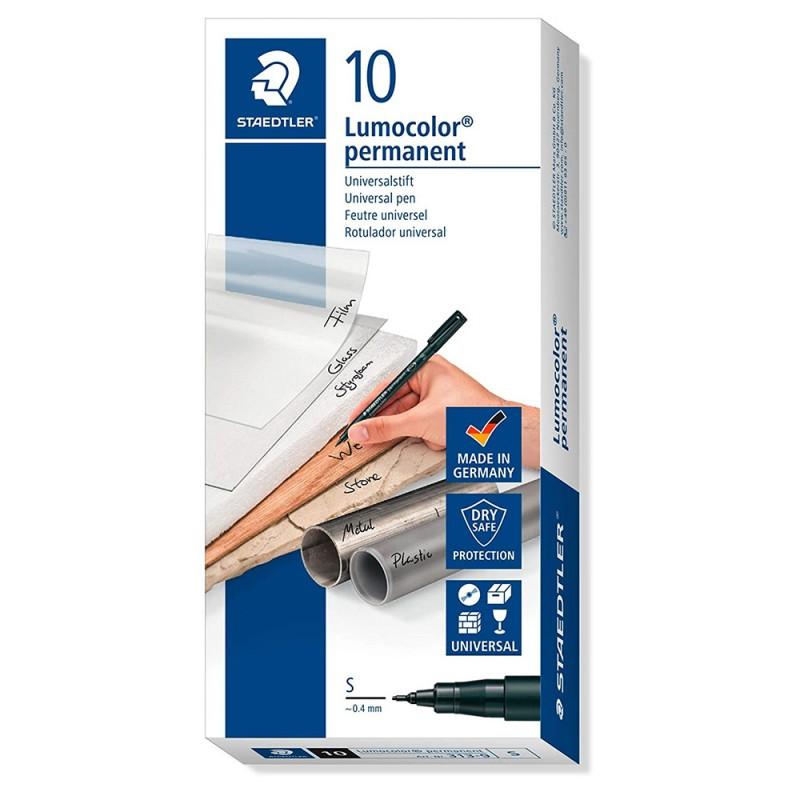 Confezione 10 Penne Nere S Permanente - Staedtler - MazzeoGiocattoli.it
