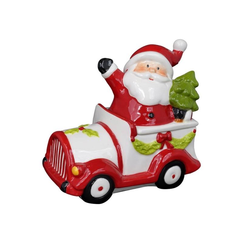 Contenitore Natalizio Decorato Con Babbo Natale In Auto  - MazzeoGiocattoli.it