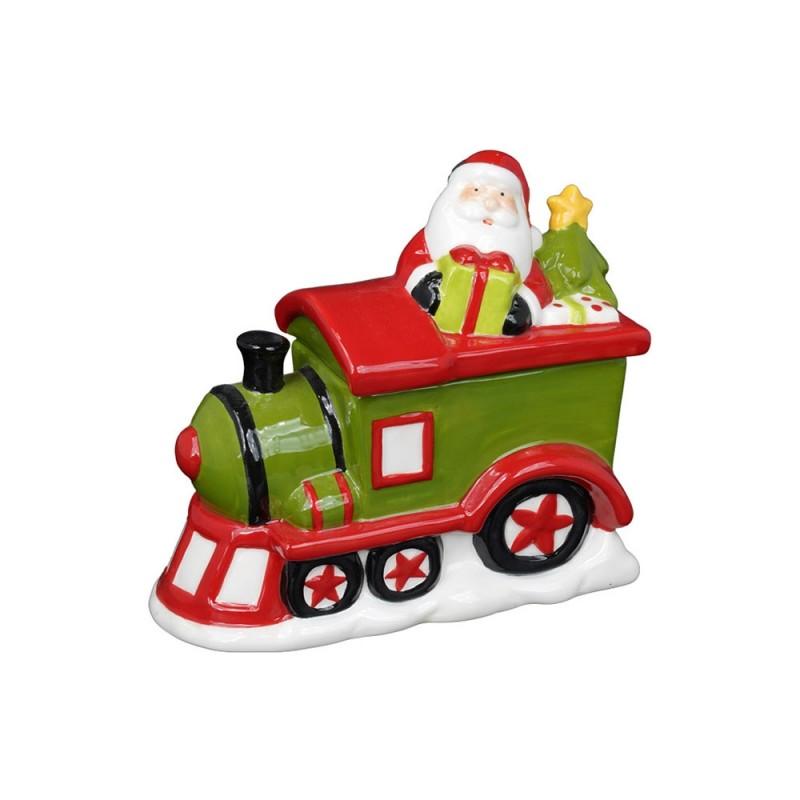 Contenitore Natalizio Decorato Con Babbo Natale In Treno - MazzeoGiocattoli.it
