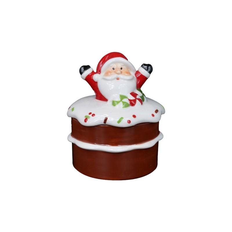 Contenitore Natalizio Decorato Con Babbo Natale Su Torta  - MazzeoGiocattoli.it