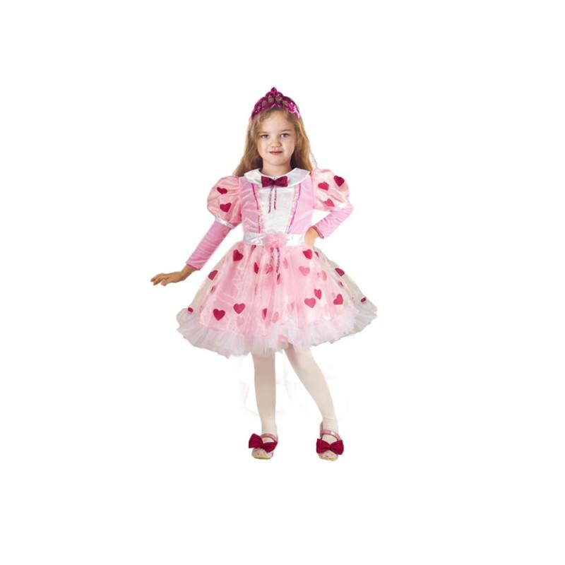 Costume Da Principessa Con Cuori, Bambina, 4 Anni - MazzeoGiocattoli.it
