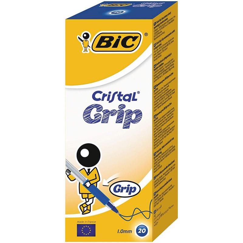 20 Pezzi Penna Bic Cristal Grip Blu - MazzeoGiocattoli.it