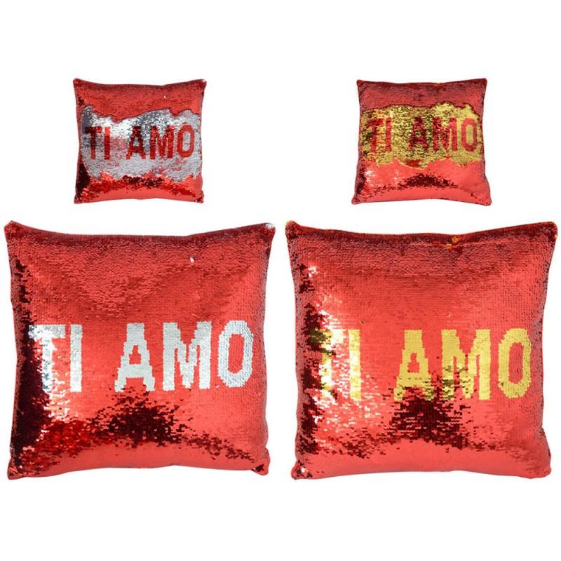 Cuscino Cuore Ti Amo Con Paillettes 37cm - Mazzeo Giocattoli - MazzeoGiocattoli.it