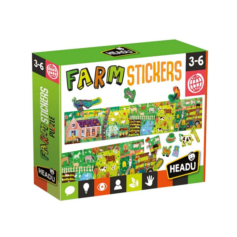 Farm & Stickers Long Puzzle - Headu  - MazzeoGiocattoli.it