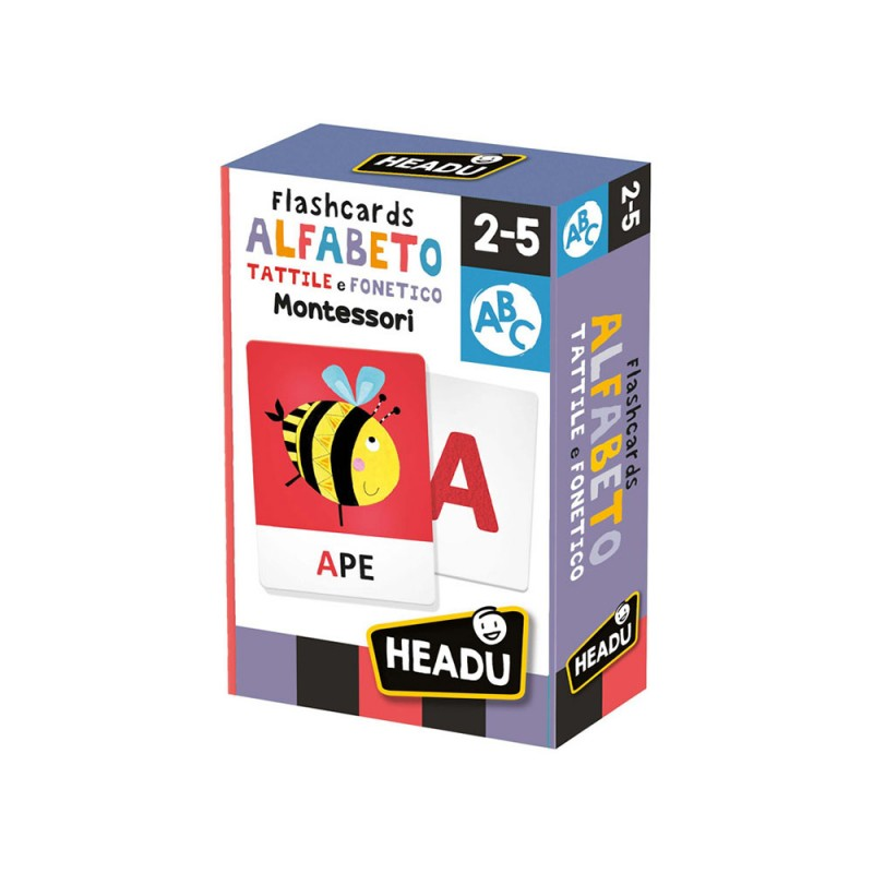 Flashcards Alfabeto Tattile E Fonetico Montessori - Headu  - MazzeoGiocattoli.it