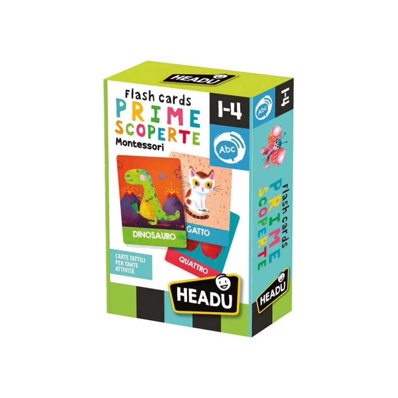Flashcards Montessori Prime Scoperte - Headu - MazzeoGiocattoli.it