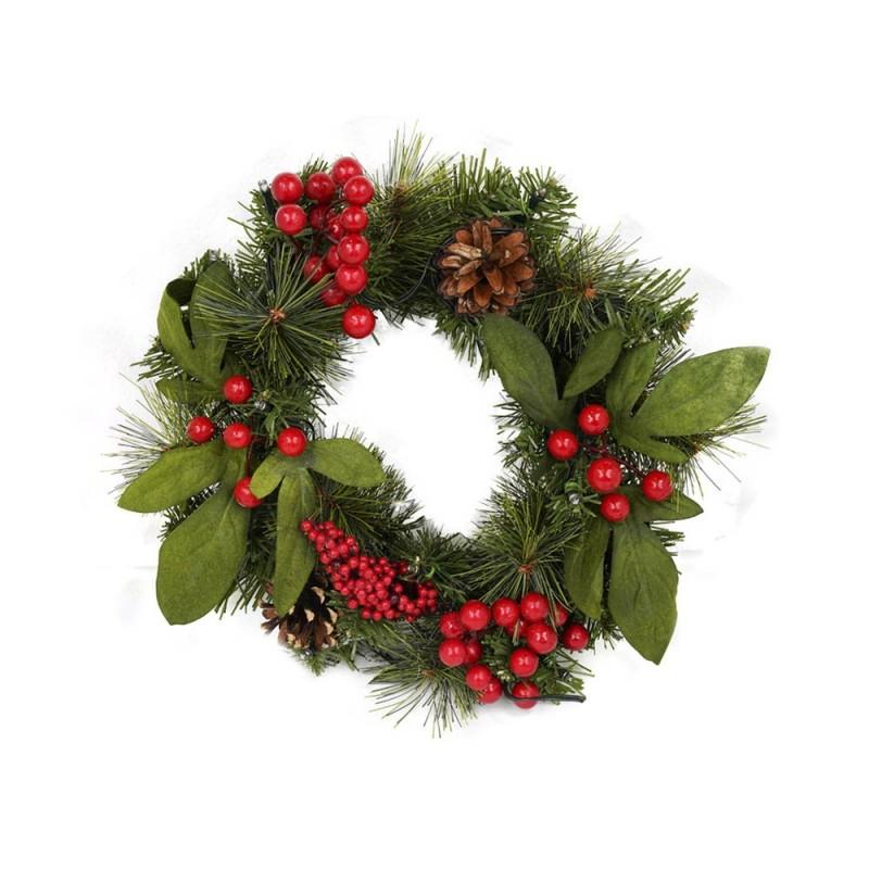 Ghirlanda Di Natale Decorata Con Luci Cm 30  - MazzeoGiocattoli.it