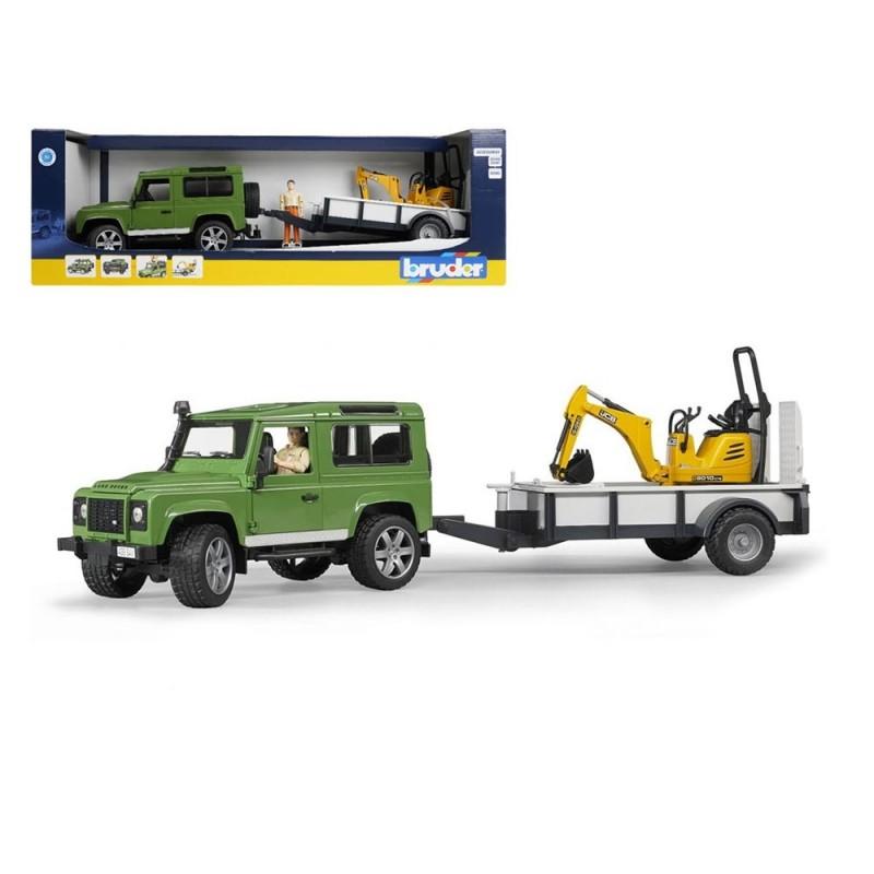 Land Rover Defender Con Rimorchio E Micro Escavatore JCB - Bruder  - MazzeoGiocattoli.it