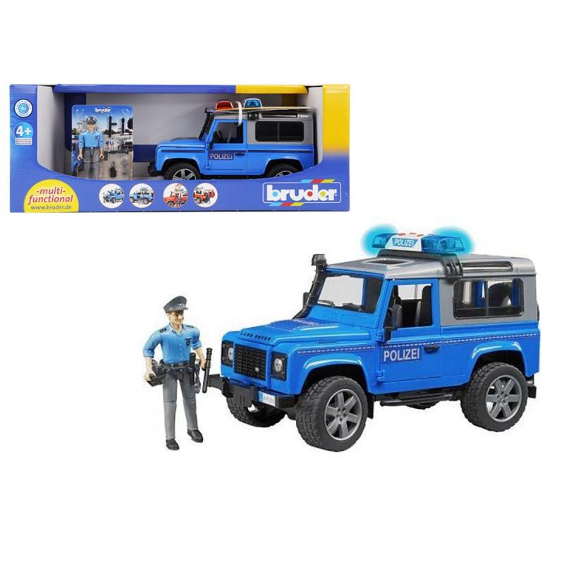 Land Rover Defender Polizia Luci E Suoni - Bruder  - MazzeoGiocattoli.it