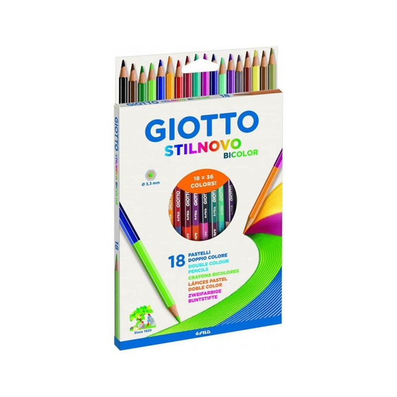 Pastelli 18 Pz Bicolore Stilnovo - Giotto - MazzeoGiocattoli.it