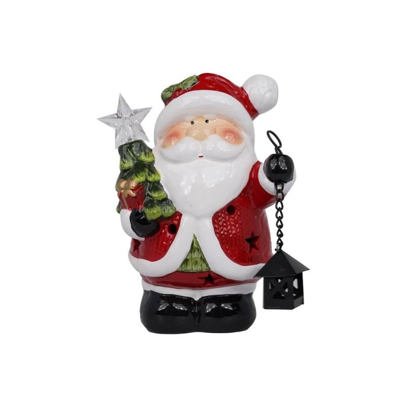 Pupazzo Babbo Natale In Ceramica Con Luci  - MazzeoGiocattoli.it