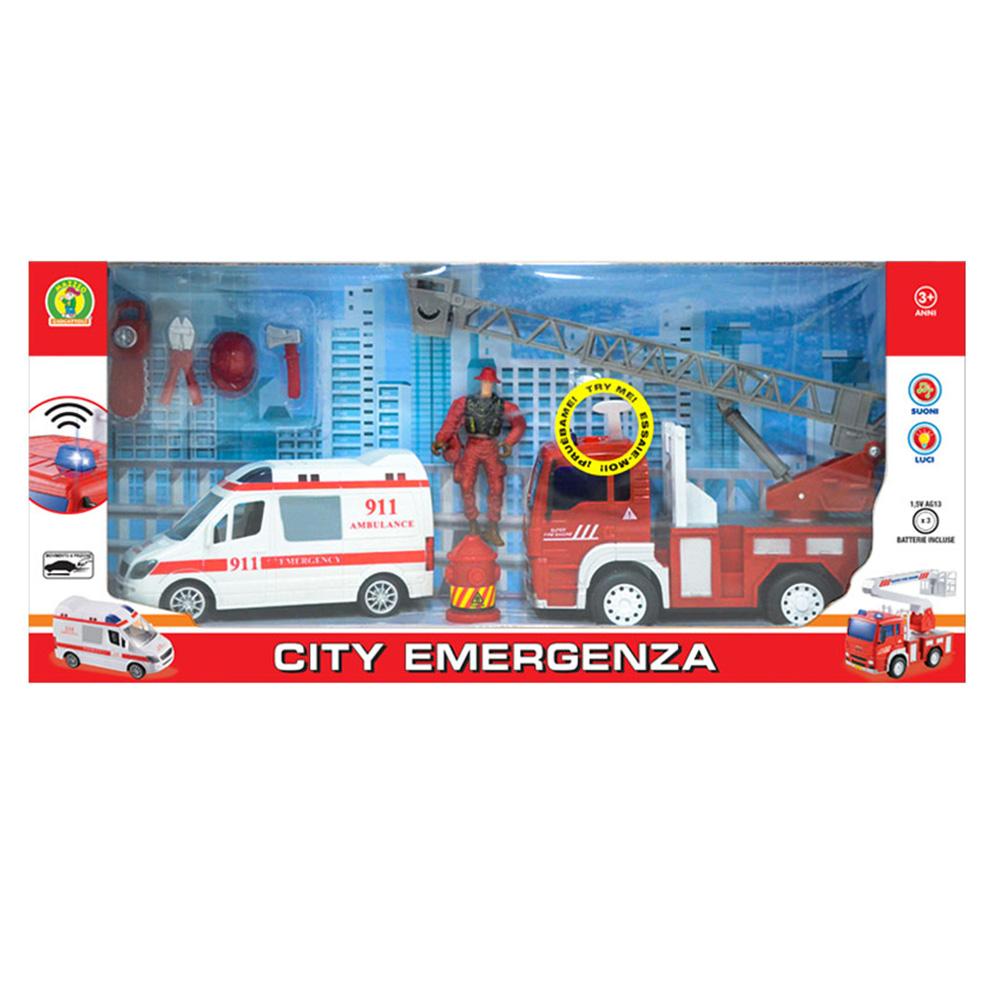 Giocattolo Ambulanza camion dei Pompieri Mazzeo Giocattoli scala mobile idrante